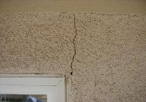 crack from settling building